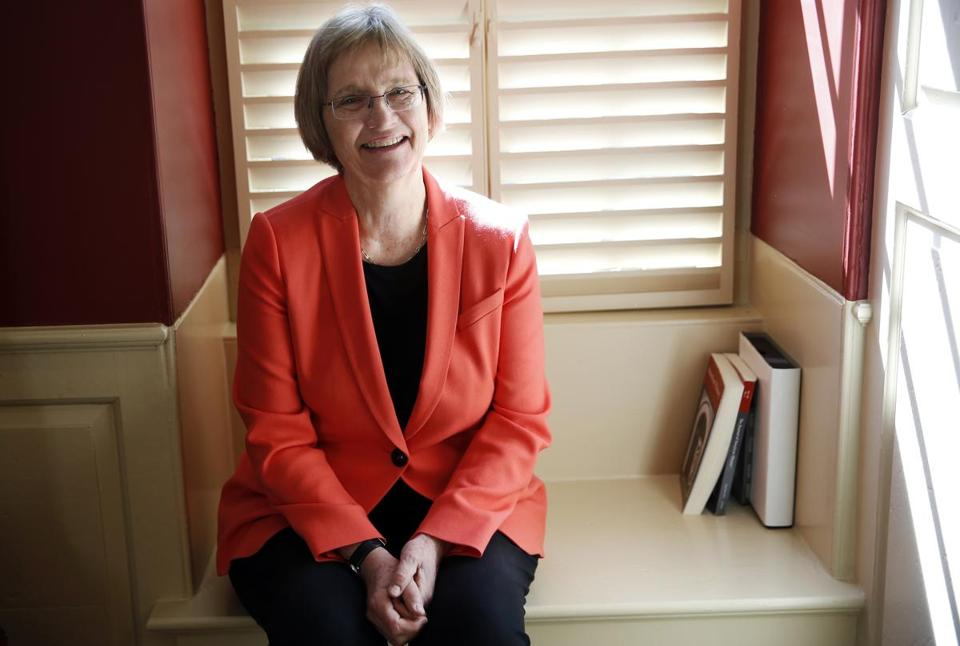 Cambridge, MA -- 6/14/2017 - Harvard President Drew Faust poses for a portrait. Faust has announced that she will step down next year. (Jessica Rinaldi/Globe Staff) Topic: 15faust Reporter: